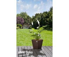 Gartenfreude Secchio per pianta da Giardino in polyrattan 4000-1066-022 2 Set 32 x 32 x 32 cm, in plastica ermetica, Bicolore Marrone
