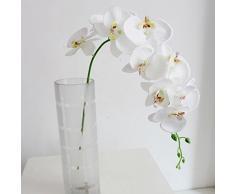 DDG Orchidea Falenopsis artificiale, a 9 fiori, per decorazione della casa, dei matrimoni, in seta, colore bianco