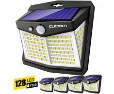 Claoner Luce Solare LED Esterno,【128LED 4 Pezzi】Faretti Solari a LED da Esterno 270° Illuminazione Luci Solari Esterno con Sensore di Movimento IP65 Impermeabile 3 Modalità per Parete, Giardino