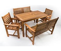 AVANTI TRENDSTORE - Furni - Set da Giardino a 5 Pezzi in Legno Tropicale, 1 Tavolo (Dimensioni: Lap 135x73,5x75 cm), 2 sedie (Dimensioni: Lap 61x88x62 cm), 2 panche (Dimensioni: Lap 120x88x62 cm)