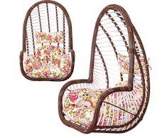 SQINAA Uovo di appendere amaca sedia cuscini senza stand,Altalena nido spessore cuscino di seduta sedia indietro con due cuscini floreali d'attaccatura-D