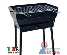 Mistermoby Barbecue Grande 60x40 Cm a Carbone Carbonella con Piedi Smontabili, Tramoggia e Cassetto Per Cenere