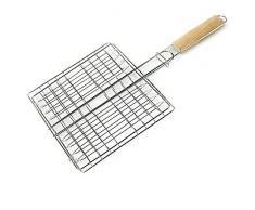 Leikance - Cesto per grigliare barbecue, manico in legno, rete pieghevole da giardino, barbecue