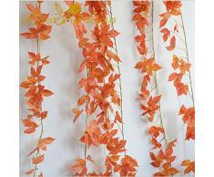LY/WEY Artificiale della Vite del Foglio Fiore Rattan Foglie di Acero Fai da Te 2 Metri Falso Rattan Wedding Hotel Gazebo Decorazione Domestica Fiore di Seta di Vite (Color : Orange)