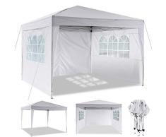 MCTECH/® 3 x 4 m Bianco Tenda Esterno Tenda da Giardino Padiglione Tenda Birra Tenda Gazebo Copertura PE Impermeabile con 4 pareti Laterali 3 finestre 1 Porte con Cerniera