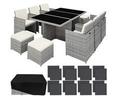 TecTake 800855 Set di Mobili da Giardino Poli Rattan, Alluminio Arredamento Set 6X Sedie 1x Tavolo 4X Sgabelli, Involucro Protettivo, Viti in Acciaio Inox, Nuovo (Grigio Chiaro)
