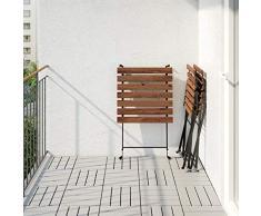 IKEA - TÄRNÖ Tavolo+2 sedie da giardino, in legno di acacia di colore nero e acciaio di colore grigio-marrone