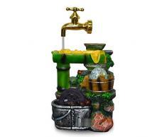 Hlluya Rubinetto lavabo Bagno Cucina I Prodotti di bambù Che scorre Fontana di Acqua di Rubinetto Galleggiante Feng Shui Decorazioni Rotonde