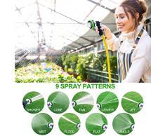Pistola doccia da giardino Tubo da giardino ugello spray, Tedmetal acqua ugello con Heavy Duty 9 modelli di irrigazione regolabile, antiscivolo e resistente agli urti per impianti di irrigazione