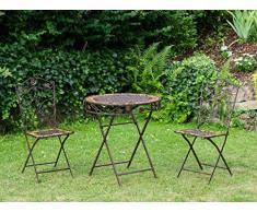 Tavolo da giardino e 2 sedie in ferro battuto in ferro in stile antico mobili da