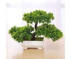 LACKINGONE Pianta Artificiale Bonsai, in Pino, per Ufficio, davanzale e Cortile, Colore: Verde 1/2/4 PCS (1)