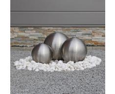 CLGarden Fontana d'acqua in acciaio inossidabile ESB2 con 3 Sfere spazzolato opaco e Illuminazione a LED, decorazione giardino esterno fontana a zampillo luci LED, sfere decorative