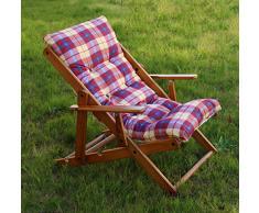 Poltrona sedia sdraio Alessia in legno di pino naturale con seduta imbottita - reclinabile in 3 posizioni
