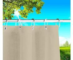Tende da Sole per Esterno con Anelli a Caduta su Misura Made in Italy Stoffa Tessuto Impermeabile Antimuffa Teli Parasole Laterali Gazebo Balconi Terrazzo Veranda Camper (Beige, L.145 x 285h)