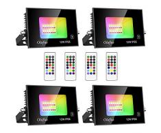 Olafus 4 x 12W Faretto LED RGB da Esterno 2 Modalità Flash Fade, Timer Funzione 2H 6H, Funzione di Memoria Dimmerabile con Telecomando Faro Colorato IP66 Impermeabile Per Festa Arredo Compleanno