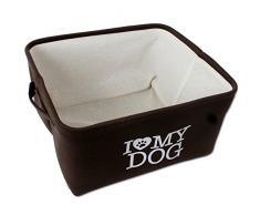 Letto cane Cesta per cani per cani piccoli marrone beige I love Il mio cane con Loop