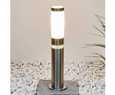 Lampada da esterni 'Binka' (Moderno) colore Grigio, in Acciaio Inox (1 luce, E27, A++) di Lampenwelt | lampioncino, paletto luminoso, lampada da viale, lampione