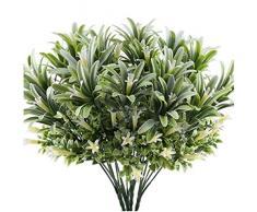 N-O artificiale di plastica giglio fiore pianta falso foglie giardino arbusto verde erba artificiale mattina gloria casa decorazione allaperto bundle
