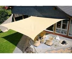 vela OMBREGGIANTE QUADRATA 3,6X3,6 MT ecrù - giardino telo copertura tenda