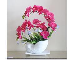 Situmi Fiori artificiali orchidee vaso in plastica morbidi arredi Red Pu