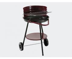 Landmann Barbecue rotondo, diametro 43 cm, catino smaltato, colore: nero/Rosso