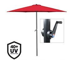 Deuba ombrellone in lluminio Ø300cm protezione UV40+ manovella parasole giardino patio terrazza balcone esterno rosso