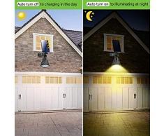 JSOT Luci Solari Esterno, 18 LED Lampade Solari Giardino 2 Modalità di Illuminazione Luci di Sicurezza Impermeabili Faretto per Parete Strade - Luce Bianca Calda, 2 Pezzi