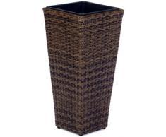Secchio per pianta da giardino in polyrattan, incl. elemento in plastica per interno ed esterno, marrone bicolore, 28 x 28 x 60 cm