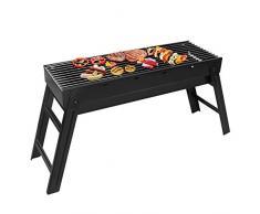 SunJas BBQ Carbone Barbecue a carbonella Pieghevole da Picnic, BBQ da Campeggio, per Esterni, Pieghevole