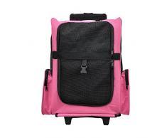 [pro.tec] 2 in 1 zaino per cani / trolley cani - trasportino borsa per cane/gatti (rosa) con 4 ruote
