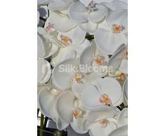 Moderno orchidea bianca artificiale floreale display con vaso in vetro e pietre nere