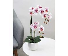 Linea Déco | Orchidea artificiale bianco rosa fucsia | 51 cm | Effetto reale | 2 rami di fiori | Vaso in ceramica bianco | Composizione fiori artificiali | Decorazione per la casa
