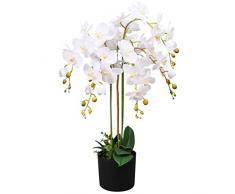 vidaXL Orchidea Artificiale in Vaso 75cm Bianca Piante Finte Fiori Arredo Casa