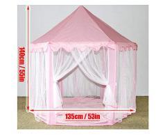 MYMM Tenda da Gioco, Bambini Princess Castle, Tende per Bambini ad Angolo per Uso Interno ed Esterno, Custodia per Il Trasporto, Regalo di Compleanno per Bambini, Play House, Gioco Puzzle (Rosa)