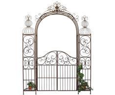 Arco di rose con porta Pforte 120853 in metallo ferro-battuto 265x190cm Aiuto-arrampicata