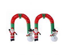 Blentude - Arco di Natale Gonfiabile, con Babbo Natale e Pupazzo di Neve con luci a LED, Decorazione Natalizia da Giardino, composizioni Puntelli da 2,4 m, piacevoli e giustificabili
