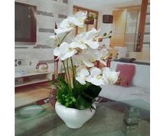 Lsrht orchidee artificiali piante in vaso di fiori di seta bouquet romantico bianco, ideale per home decor Room Garden party wedding mostrando