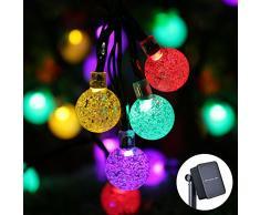 Qedertek Luci Natalizie da Esterno Solare, Luci Albero di Natale 6M 30 LED con Palline Trasparente, Luci Colorate Addobbi Natalizi, Luci Natale Esterno Impermeabile, Luci Decorazione Natale e Casa