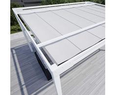 QEEQ.IT Bianca Gazebo 3x3-struttura Telo Grigio Pergola in Alluminio