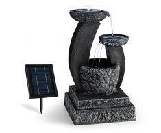 Blumfeldt Fantaghiro Fontana Decorativa da Giardino con Pannello Solare (Zampillo d'Acqua, Poliresina Roccia, 3 Watt, Illuminazione LED)