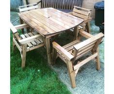"""Set di mobili da giardino in legno massiccio. 4 '-6 """"tavolo e 4 sedie"""