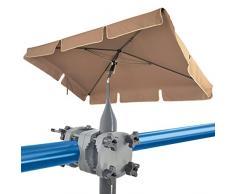 Set 4smile - Parasole per balcone SunnyShade, clip ombrellone per ringhiera del balcone SunnyGuy - Ombrellone UV 50+ rettangolare, 200x125cm