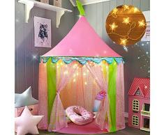 Tiny Land Tenda Gioco con Le luci di Una Stella, Castello della Principessa per Bambine con Borsa Tote , Portatile, (140 cm di Altezza)