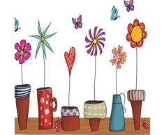 Fiori Vasi Piante Giardino piccole farfalle – Adesivo da parete Casa Decalcomania da parete in vinile rimovibile decorazione per finestre in PVC camera da letto soggiorno Art Picture Murals fai da te Stick impermeabile per