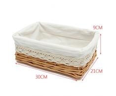 OUNONA salice cestino multiuso rettangolare cestino cesto in vimini con fodera rimovibile e lavabile - 30*21*9 cm