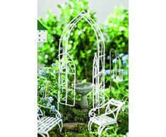 Jeremie Set Mini vimini arco accessori miniatura giardino, 7 Notebook, bianco
