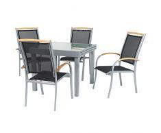 """IB-Style - Mobili da gardino """"Diplomat-Quadro"""" sedie con schienale - ALTO   3 varianti   argento / textile / teak   tavolo allungabile 90-180 cm   salotto Arredamento da esterno sedie con schienale   5 pezzi"""