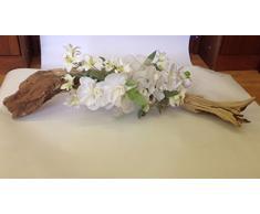 Composizione floreale orchidee artificiali base legno naturale decorazioni fiori piante