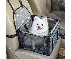 GENORTH Animale Vettore Borsa per Cani Pieghevole Borse Trasportino Borsa per Animali Domestici (Grigio con Le Stampe della Zampa)