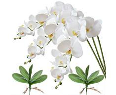 FagusHome 3 Pz Fiori Orchidea Phalaenopsis Fiori Artificiali 80cm con 2 Pz Foglie dorchidea phalaenopsis Artificiale Fiori Finti (Bianca)